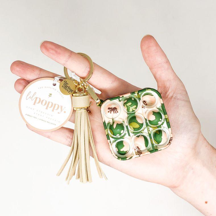Lil' Poppy - Keychain Bubble Pop It Fidget Toy - Dark Green