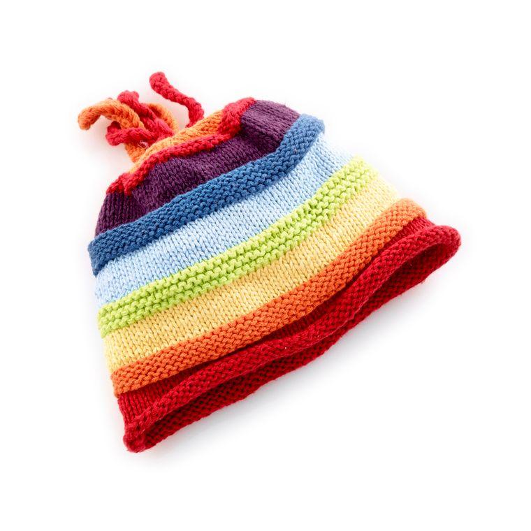 Rainbow Stripey Hat 0-6m