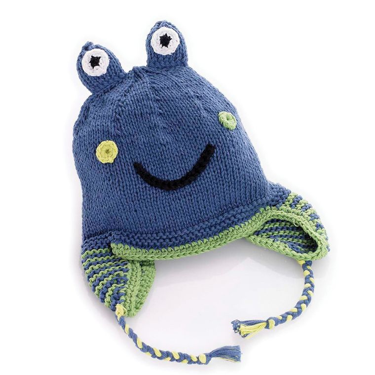 Blue Frog Hat 6-12m