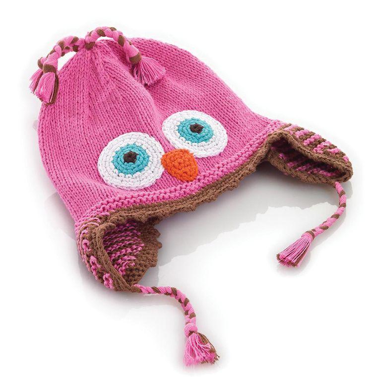Pink Owl Hat 1-2y