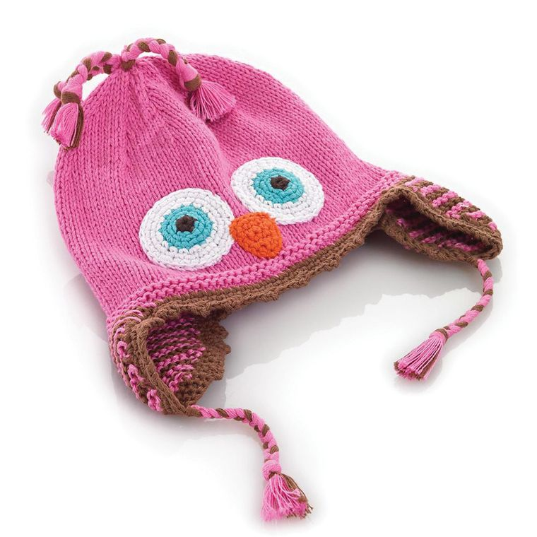 Pink Owl Hat 6-12m