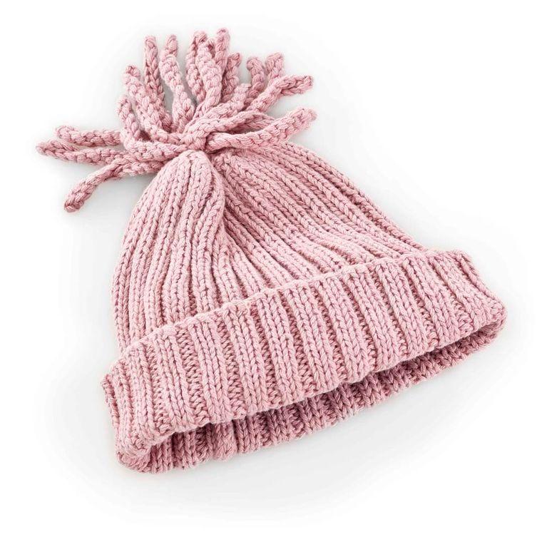 Ribbed Hat - Dusky Pink 1-2Y