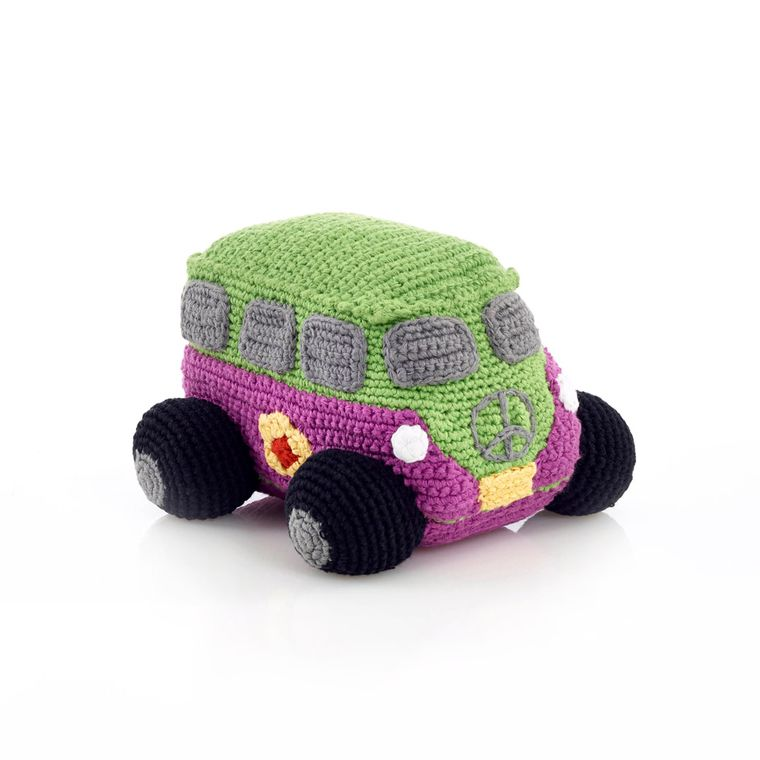Peace Campervan Rattle Mulberry