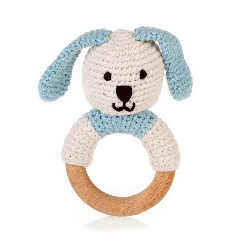 Organic Wooden Teething Ring Bunny Blue