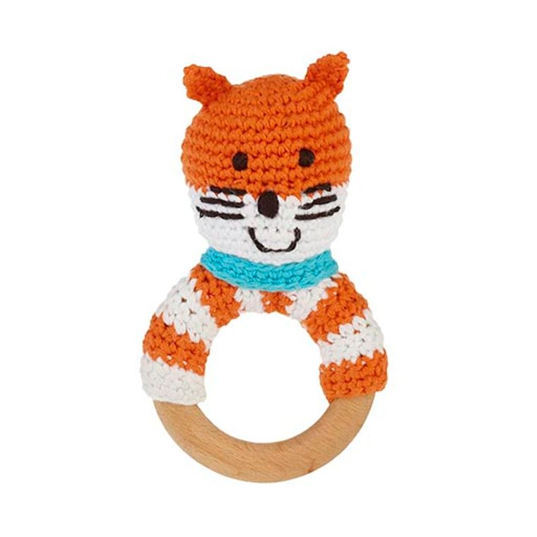Wooden ring rattle - fox