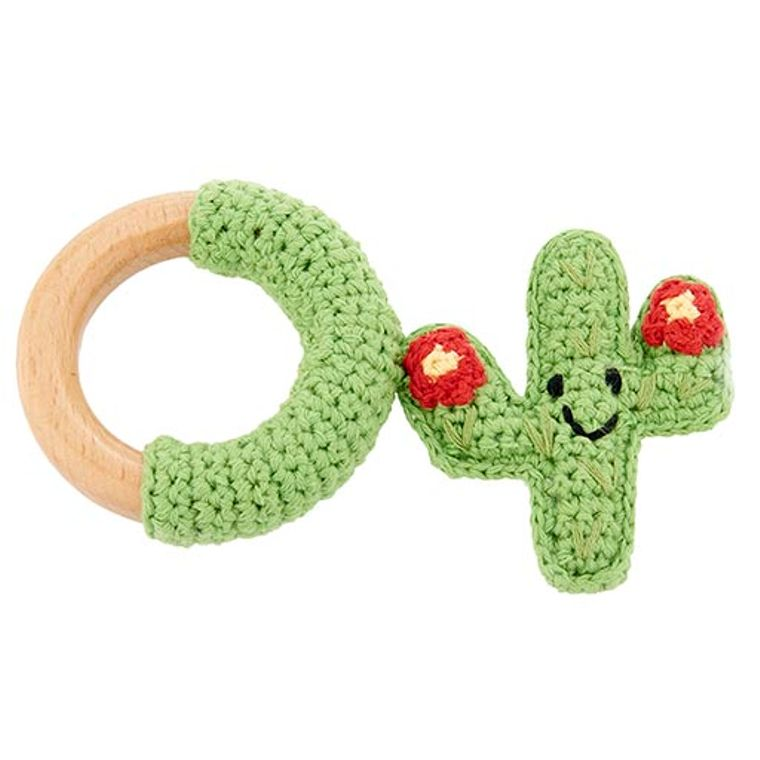 Cactus wooden ring - red flower