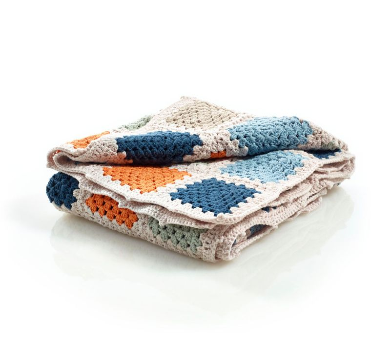 Organic Granny Square Blanket Blue