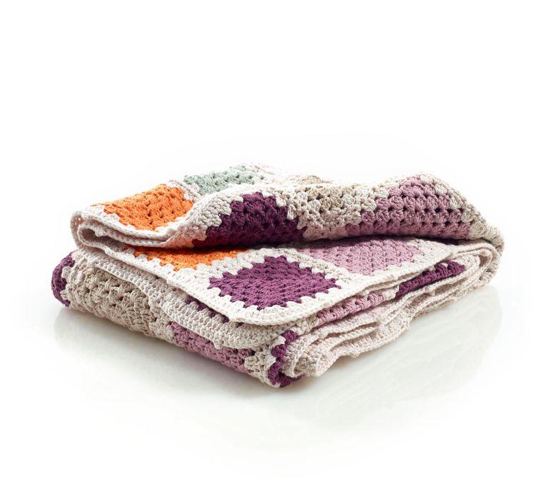 Organic Granny Square Blanket Purple