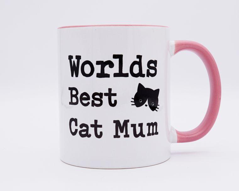 Worlds Best Cat Mum Pink Two Toned Mug