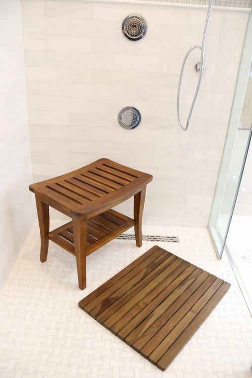 Teak Shower Bench With Shelf