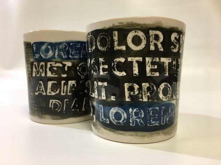 "Handmade ""Lorem Ipsum Series"" Porcelain Tumbler/Mug"
