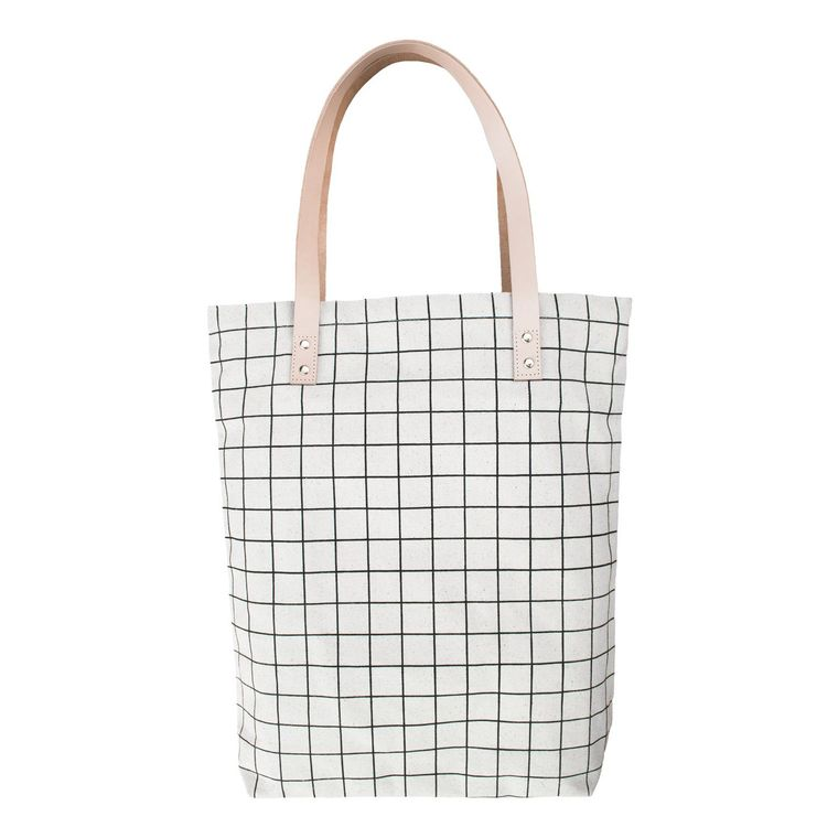 Cotton Canvas Tote Bag with Leather Straps - Black Grid Lines