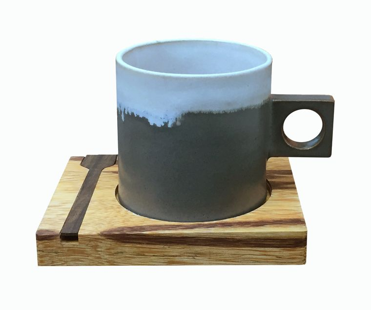 Coffee Cup, Coaster and stir stick