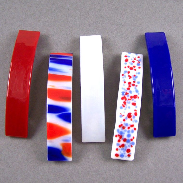 USA Barrettes Stained Glass America Patriotic Large Size