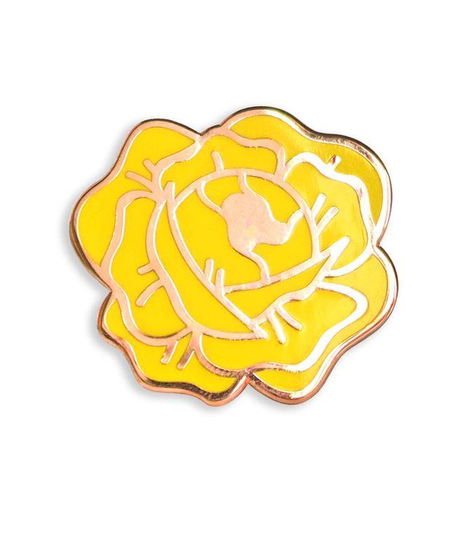 Texas Yellow Rose Enamel Lapel Pin, Uniqe Texas gift, Botanical enamel pin, Hard enamel pins