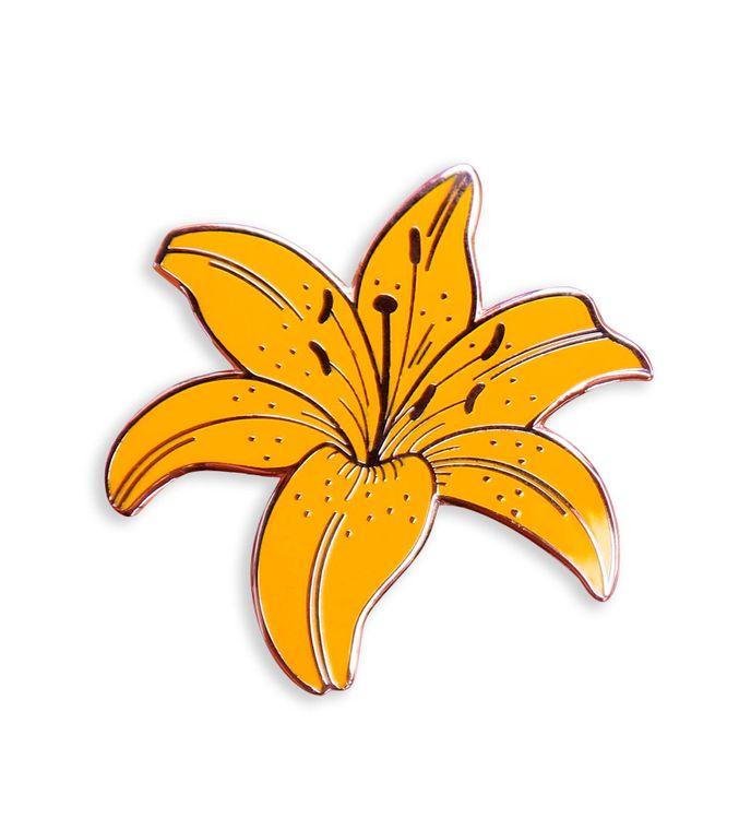 Yellow Lily Enamel Pin, Botanical Enamel pin, Plant lover gift, Floral Lapel pin