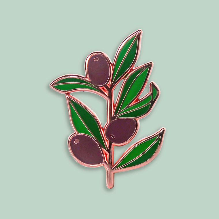 Olive Branch Enamel Pin, Hard enamel pins, Botanical enamel pin, Peace pin, Olive green Lapel pin