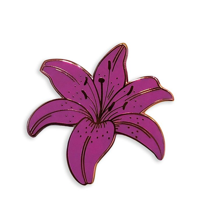 Purple Lily Enamel Pin, Purple Wedding Lapel pin, Flower Pin, Cute enamel pins, Botanical jewelry