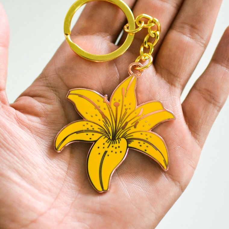 Yellow Lily Enamel Keychain