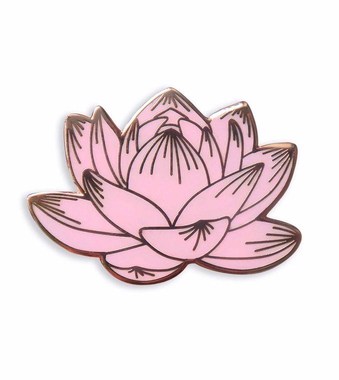 Lotus Enamel Pin, Floral enamel pin, Pink Flower Jacket Pin Badge, Lotus jewelry, Botanical enamel pin