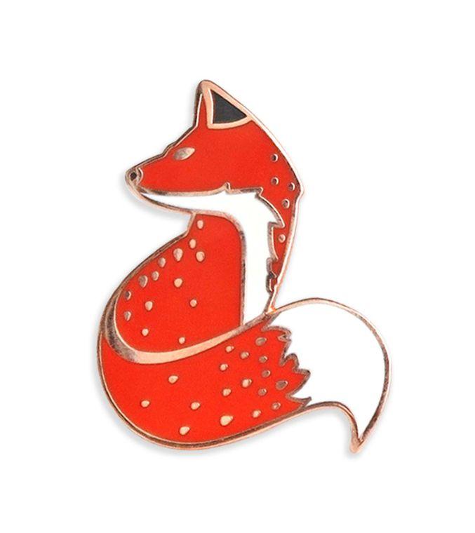 Red Fox Enamel pin, Anime enamel pin, Hard enamel pins, Wildlife Pin Badge, Cute Fox Lapel pin