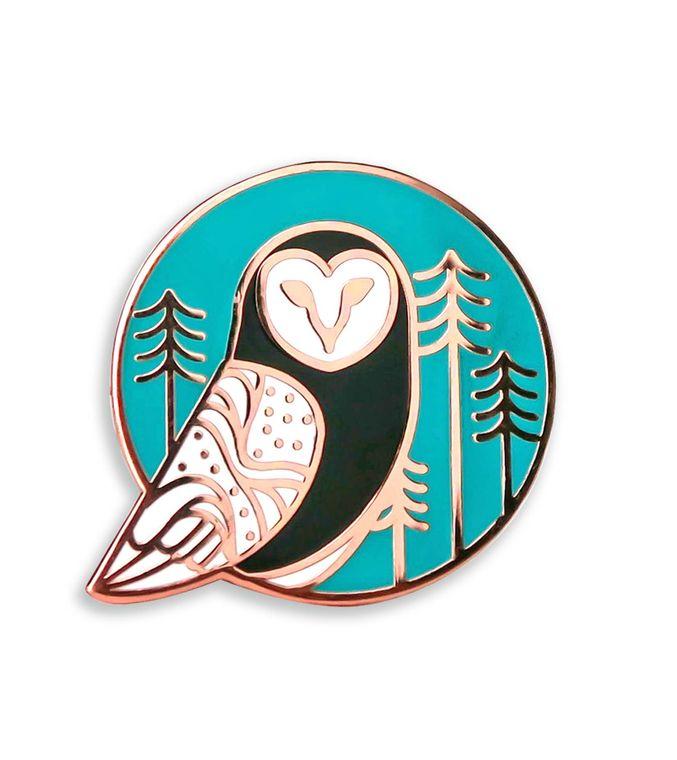 Barn Owl Copper Enamel Pin, Hard enamel pins, Climate Change pin, Political pin badge, Cute White owl Backpack pins