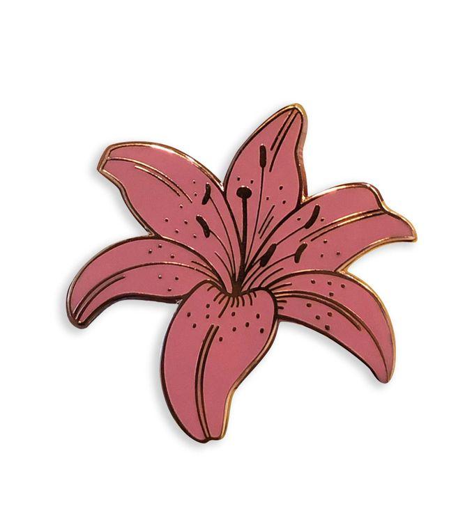 Dusty Pink Lily - Floral enamel pin, Plant Enamel pin, Blush pink Lapel pin, Cute enamel pins Stocking stuffers