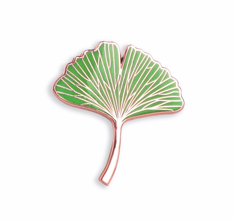 Ginkgo Biloba Leaf Enamel Pin Plant lovers gift, Botanical Pin, Hard enamel pins, Cute enamel pins