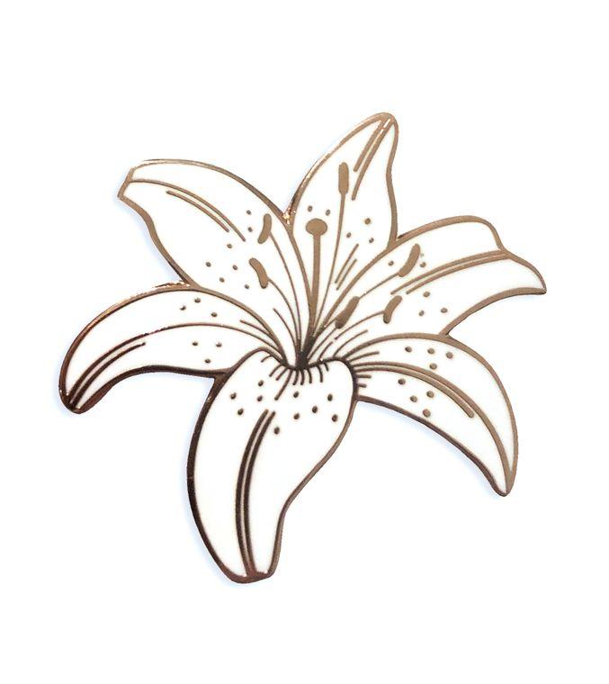 White Lily Enamel Pin, Plant enamel pin, Botanical Enamel pin, White Flower Lapel pin