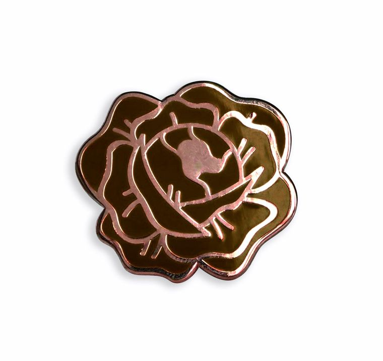 Desert Rose Enamel Lapel Pin (black and Rose Gold hard enamel pin lapel pin badge jewelry rose pin)