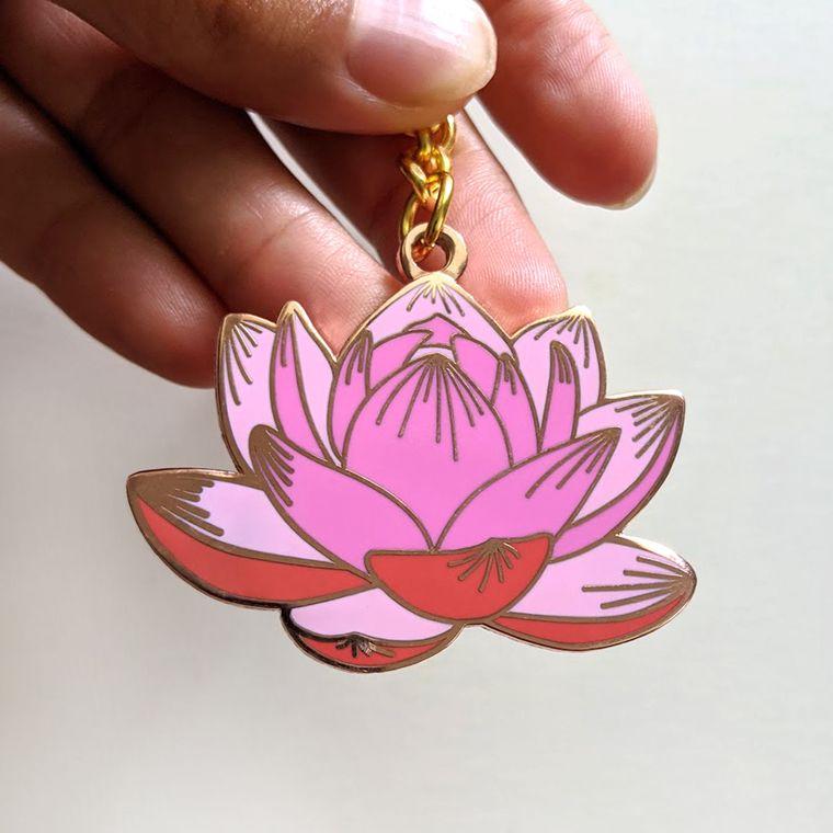 Pink Lotus Flower Enamel Pin, floral pin