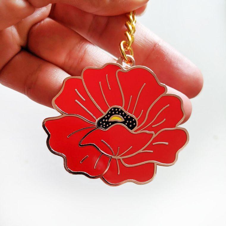 Poppy Enamel Keychain, Floral keychain, Flower Hard Enamel Key chain, Poppy Field Enamel Keyring