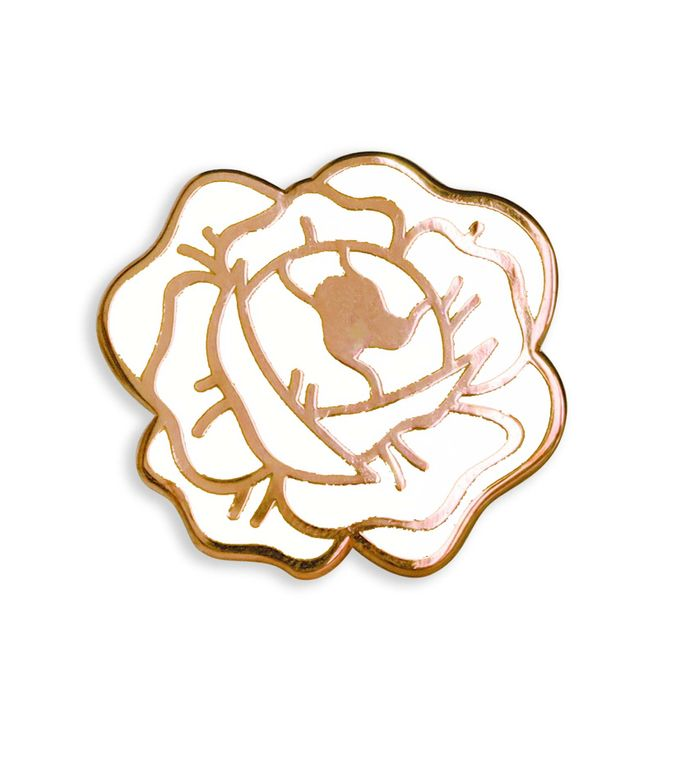 White Desert Rose Enamel Lapel Pin, White and Copper Hard enamel pins, White Rose Pin badge
