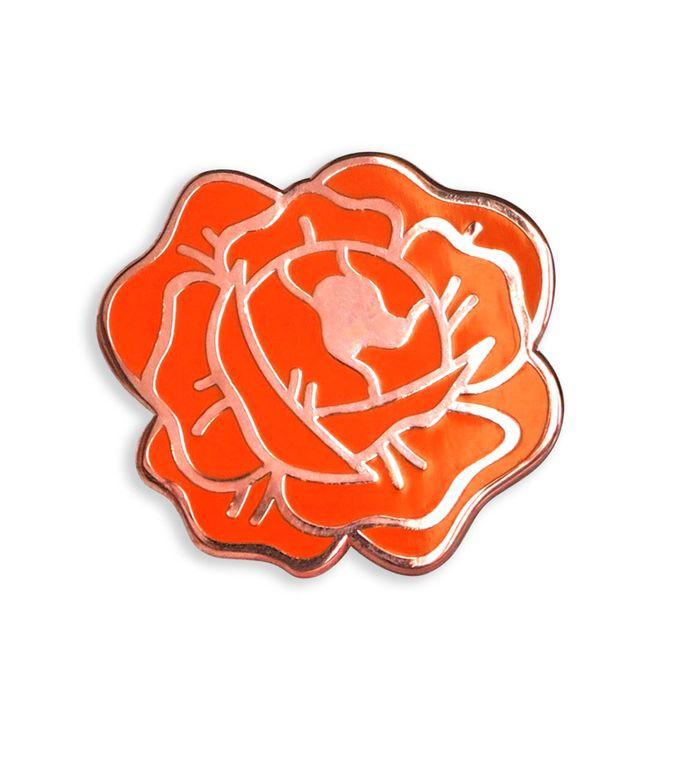 Red Desert Rose Enamel Lapel Pin (red and rosegold hard enamel pin lapel pin badge jewelry rose pin)