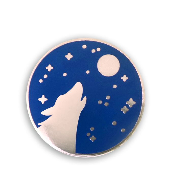 Howling Wolf Lapel pin, Fantasy Enamel pin Gift, Silver Wolf and Moon Hard enamel pins