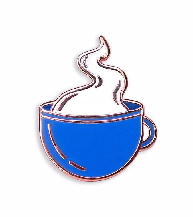 Coffee Cup Enamel pin, Coffee lovers gift, Kawaii enamel pin, Sippin Coffee & Tea Enamel Pin
