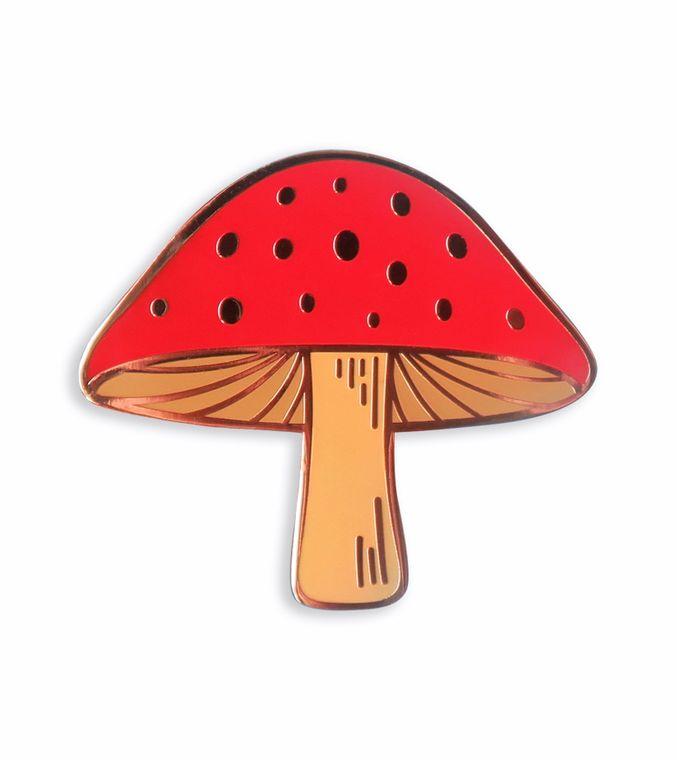 Mushroom Enamel Pin, Plant enamel pin, Botanical pin, Red Cap Magic Mushroom jewelry