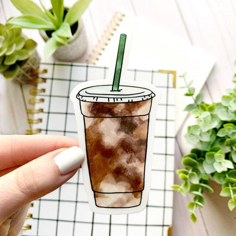 Iced Coffee Sticker 4x2in.