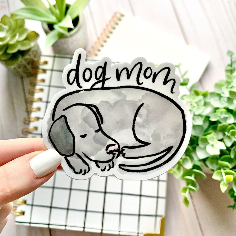 Watercolor Dog Mom Sticker 3x3in.