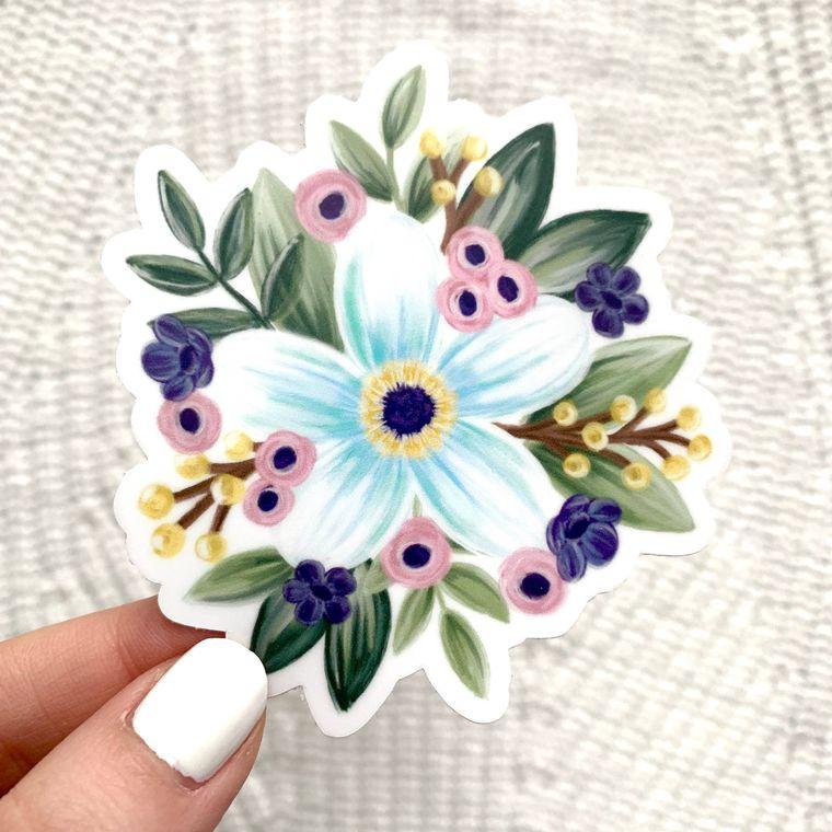 Floral Daisy Design Sticker 3x3in.
