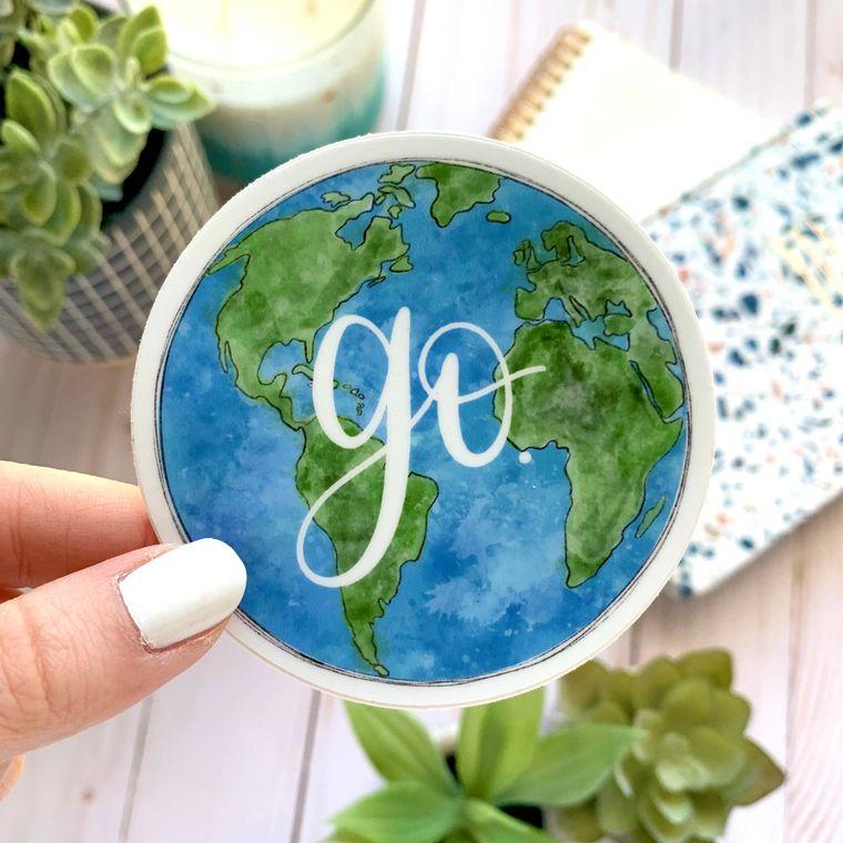 Go Globe Sticker 3x3in.
