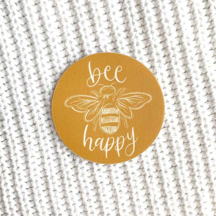 Bee Happy Sticker 2x2in.