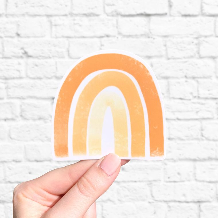 Orange Rainbow Sticker 3x3in.