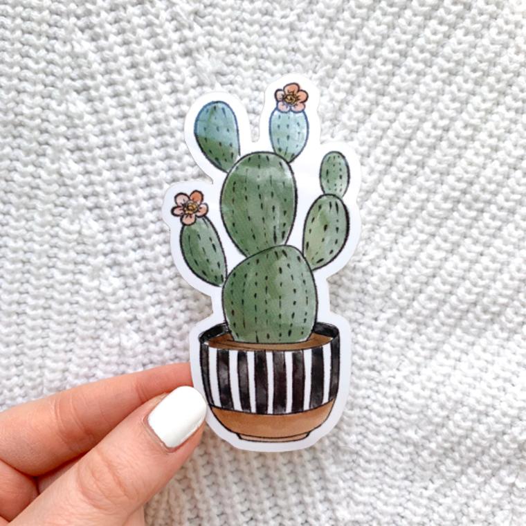 Watercolor Striped Planter Cactus Sticker, 3x2 in.