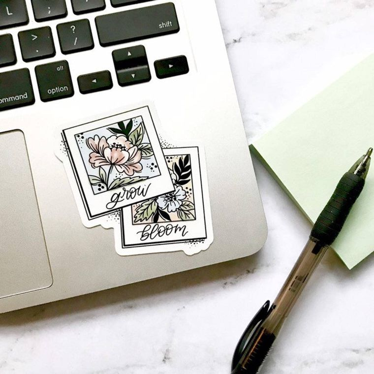 Grow and Bloom Polaroids Sticker 3x3in.