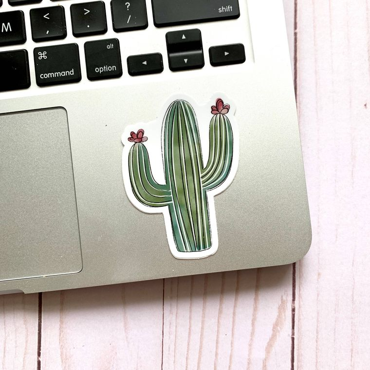 Watercolor Cactus Sticker 3x3in.