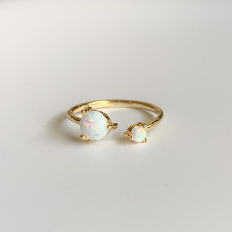 Golden Twisted Opal Ring