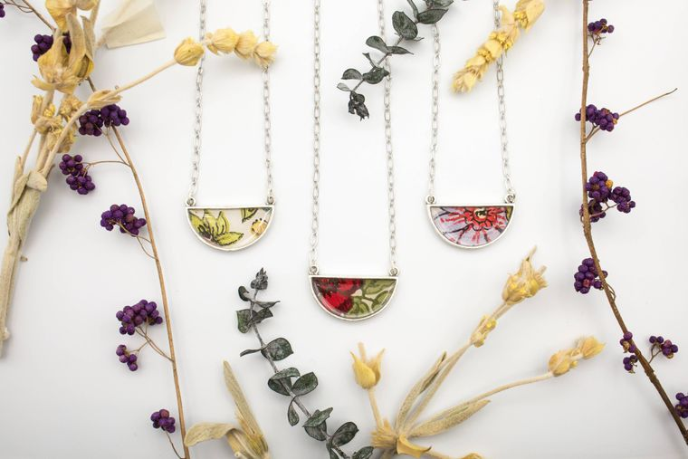 Demi crescent necklace- assorted botanical imagery