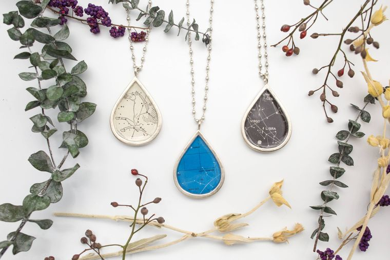 Colossal Teardrop Necklace - celestial imagery
