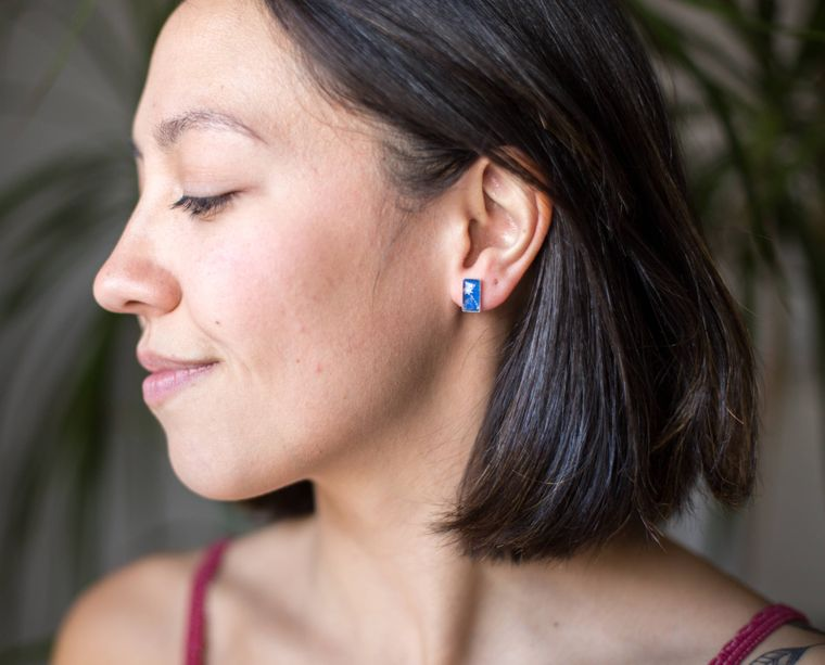 Tiny Rectangle Stud Earrings - blue celestial
